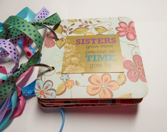 Sisters Mini Album, Chipboard Album, Brag Book, Sisters Scrapbook, Photo Album, Memory Book, Premade Album, Sisters, Coaster Album, Family