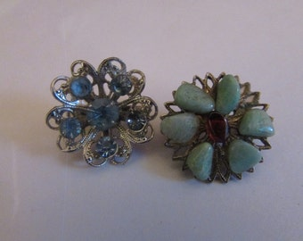two rhinestone scatter pins