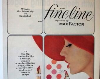 COS-127   Fine Line Lipsticks by Max Factor Ad  -  1962