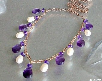 Amethyst Pearl Rose Gold Necklace set. Amethyst Necklace. Hand wired jewelry.