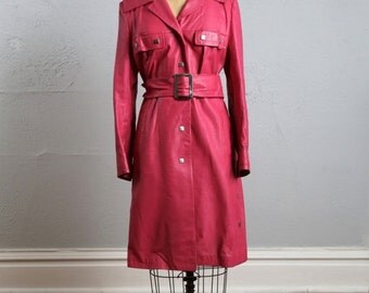 ON SALE Hot Pink Trench Coat . Vinyl Jacket