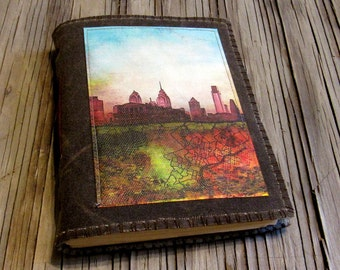 Philly Journal - distressed brown waxed canvas cover journal
