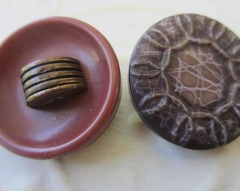 Vintage Buttons - 2 large novelty assorted celluloid , 1950's (sept 26b)