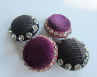 Vintage Buttons - 4 beautiful large  nice weight magenta velvet and black  fabric over Lucite, rhinestone rim (jan 61b)
