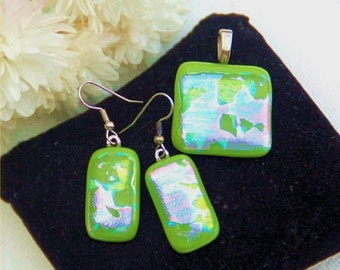 Fused dichroic glass pendant and earring set, light green with green and pink dichroic