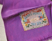 Vintage WWII Era USA Great Britain Hands Across the Sea Embroidered Silk Scarf Plum Purple Crepe Patriotic Souvenir Fringed