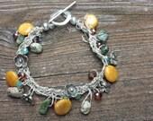Flower Bead Crystal Bracelet Handknitted Bracelet Gift for Her by hipknitta