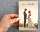 "50+ Wedding Thank you card, with photo, natural, script, 4x6 inch ""Nichole Style"""