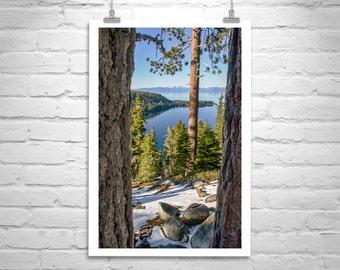 Mountain Art, Lake Tahoe Photograph, Landscape Print, Winter Lake, Vertical Art, Giclee Canvas, Sierra Mountains, Sierra Nevada, Gift