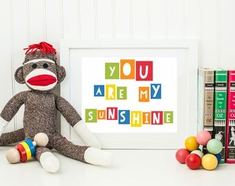 Rainbow You Are My Sunshine Wall Art - Rainbow Nursery Decor - Instant Download - Printable Kids Room Art - Playroom Art - Rainbow Printable