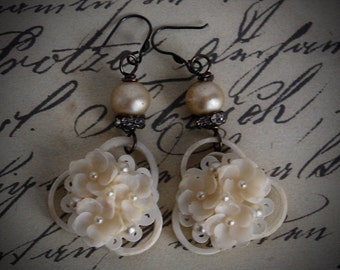 Paper Whites-Antique Vintage Shell & Pearl Assemblage Earrings