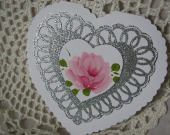 Silver Heart Valentine Greeting Card Hand Painted Pink Rose