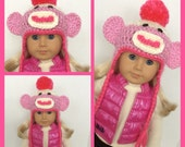 Pink Sock Monkey Crochet Hat, Doll Clothes Made To Fit American Girl, 18 Inch Doll Clothes, So Cute
