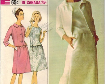1960s Simplicity 6217 Vintage Sewing Pattern Misses Formal Dress, Designer Dress, Cropped Jacket Size 12 Bust 32, Size 14 Bust 34