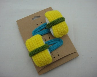 FREE SHIPPING Crochet Snap Clip Hair Accessories - Japaneses Food Egg Sushi