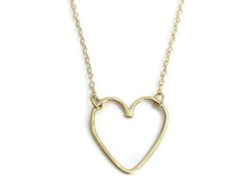 Love Link Gold Handmade 14K Solid Gold Heart Necklace Dainty Gold Necklace Christmas Gift for Her New Mom Necklace Everyday Simple Jewelry