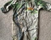 Personalized Camouflage Mossy Oak  or Realtree Baby Infant Newborn Long Sleeve Baby Sleeper Creeper