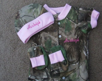 Realtree Camo Camouflage 3PC Baby Infant Newborn Set Personalized Girls Pink Trim Coming home outfit