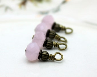 Pink Opaque Faceted Rondelle Crystal and Brass Bead Dangle Drop Charm Set, Earring Dangle, Anime Charm, Girls Charm