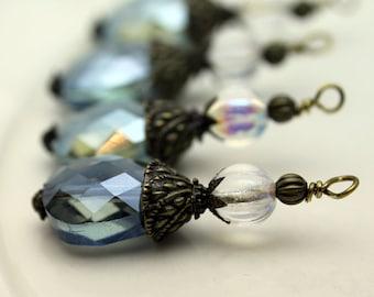 Montana Blue Faceted Flat Teardrop Crystal Pendant and Czech Clear AB Melon Crystal Bead Dangle Charm Drop Set