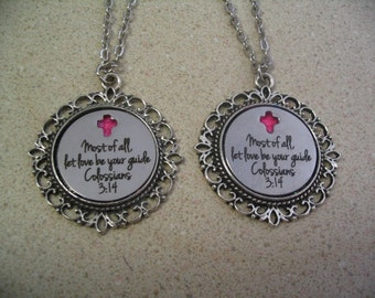 2 Religious Scripture Christian Necklaces Colossians 3:14 for Mother Daughter Sisters or Friends Inspirational Encouragement