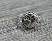 Monogrammed Sterling Silver Ring - SALE - Circle Rope Style , monogram ring, circle monogram ring, personalized ring, personalized jewelry