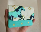 Cash and Card Wallet with Zipper- Running Horses
