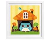 31 Woodland Nursery Decor - Mushroom House and Owl Wall Art - Owl Nursery Print - Owl Home Decor - Owl Illustration - Woodland Drawing