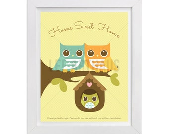 22T Owl Art - Home Sweet Home - Owl Parents with Baby Boy Owl Wall Art - Inspirational Quote - Owl Theme - Boy Nursery Decor - Owl Lover