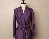Vintage 1970's 1980's Purple Dress Schrader Sport Petites
