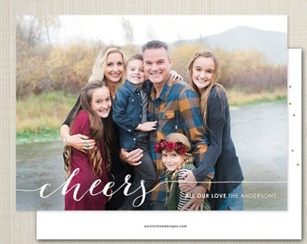Photo New Year's Card, printable new years photo card, modern photo holiday card - cheers 2016.