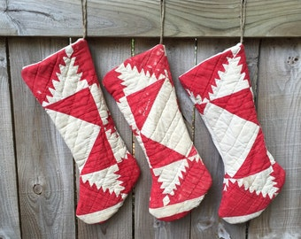 Vintage Upcycled Red Quilt Holiday Christmas Stockings Set of 3