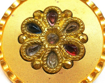"""1800s metal BUTTON, Victorian flower with colored glass,  1.25""""."""