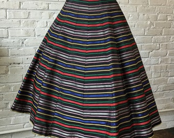 "1950s Rainbow Striped Taffeta 16-gore Rockabilly Swing Full Skirt, 25 1/2"" waist"