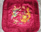 Pillow Cover Chinese Silk Embroidered Fighting Dragon An Game Cock Vintage