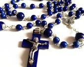 Sterling 925 Silver Lapis lazuli Beads & Lapis lazuli  St. Benedict CROSS CRUCIFIX Rosary Necklace Box