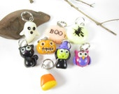 Glowing Halloween Stitch Markers, cute charms funny knitting accessories, knit , gift for her knitter, glow in the dark, unique polymer clay