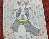 Custom Reserved SamsFurKids Two Boston Terrier Cards With Envelopes