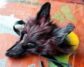 Real eco-friendly dyed red and black fox fur mask - shaped and ready to wear - for ritual, dance, costume and more