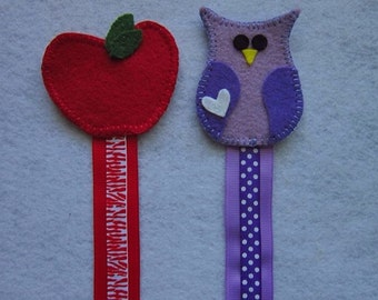 Teacher's appreciation gift, apple bookmarks, owl bookmarks, teachers gifts, Bookmarks, Wool felt bookmarks,