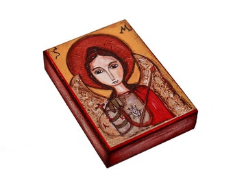 Saint Michael - ACEO Giclee print mounted on Wood (2.5 x 3.5 inches) Folk Art  by FLOR LARIOS