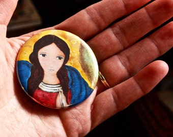 Mary Untier of Knots -  Pocket Mirror - Original Art by Flor Larios