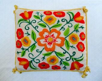 Gorgeous embroidered pillow - bright citrus tones