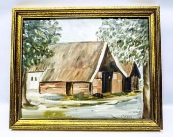 Rustic barn - original oil painting