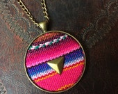 INKA BOHEMIAN necklace upcycle handwoven peruvian inca tribal studded textile