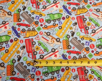 Connector City Trucks Taxi Cars Ambulance Bus BY YARDS Northcott Cotton Fabric