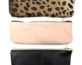 Leather Pencil Pouch in Rose, Leopard or Black
