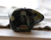 10% off BLACK BEARS .. 2 Picasso Czech Bear Beads 12mm (4916-2)