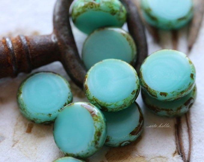 sale .. SLICED TURQUOISE No. 2 .. 10 Picasso Czech Glass Coin Beads 11mm (5276-10)