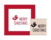 Merry Christmas Birdie Rubber Stamp